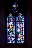 WASHINGTON D.C.  - JUNE 15, 2014: Interior window mosaic designs of National Cathedral in Washington