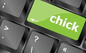Chick Button On Computer Pc Keyboard Key