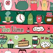 Tea time seamless background pattern