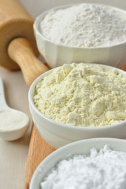 picture of millet  - Three bowls with gluten free flour  - JPG