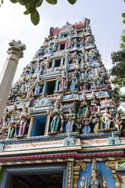 picture of durga  - Front view of Goddess Durga temple tower or Gopuram or Vimana