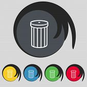 Recycle bin sign icon. Symbol. Set of colored buttons. Vector