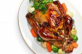 homemade roast turkey, thanksgiving christmas dinner isolated on white background