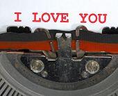 Typewriter Types I Love You Closeup