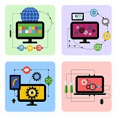Business processes concept icon set in flat design