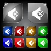 Mute speaker sign icon. Sound symbol. Set of colourful buttons. Vector