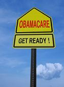obamacare get ready conceptual directional post over blue sky