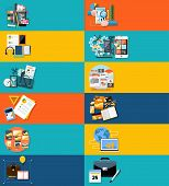picture of seminar  - Icons set banners for applocation development - JPG