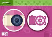 Digital camera in frame on lilac background