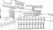 Pencil Sketch Of A Public Building