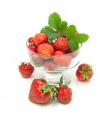 Juicy Strawberries In A Glass Bowl Isolated On White Background Close-up