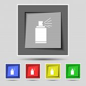 Graffiti spray can sign icon. Aerosol paint symbol. Set of colored buttons. Vector