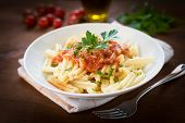 image of italian parsley  - dish of italian pasta topped with tomato sauce and parsley - JPG