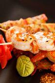 Japanese Skewered Prawns with Vegetables