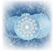 beautiful blue baubles and snowflakes
