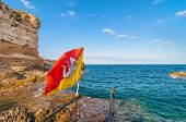 Mediterranean Sea And Sicily Flag In Syracuse, Italy