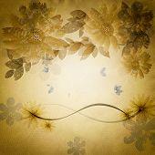 Grunge Floral Background.