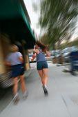 running girls at morning