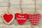 Merry Christmas on canvas hearts