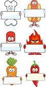 Different Cartoon Character Holding A Blank Sign. Collection Set