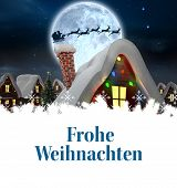 Christmas greeting in german against santa delivery presents to village
