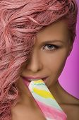 Beautiful Woman With Pink Hair And Candy