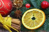stock photo of christmas spices  - Christmas decorations and Christmas spices - JPG