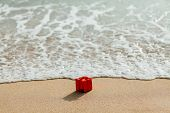 Gift Red Box On The Beach