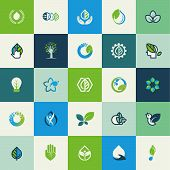 Set of flat design nature icons