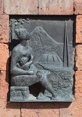 image of building relief  - relief picture on building near Etchmiadzin monastery - JPG