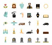 image of funeral home  - Death and mourning for deceased ritual church funeral ceremony tombstone candles flat icons set vector isolated illustration - JPG