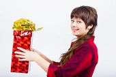Young Girl With A Gift Box