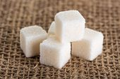 Cubes Of White Sugar On Jute Bags