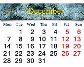 Calendar For The December Of 2015 With Spruce
