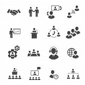 Business people online meeting strategic pictograms set of presentation  conference  teamwork isolat