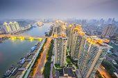 Fuzhou, China cityscape overlooking the Ming River.