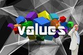 The word values and thinking businessman against abstract glowing black background