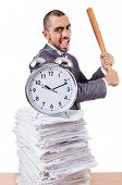 Angry man with stack of papers and baseball bat isolated on white
