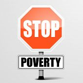 detailed illustration of a red stop Poverty sign, eps10 vector