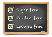 detailed illustration of a blackboard with sugar, gluten, lactose free text and checkboxes, eps10 vector, gradient mesh included