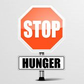 detailed illustration of a red stop Hunger sign, eps10 vector