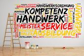 Renovation tag cloud in German on a wall with ladder and paint cans (3D Rendering)