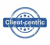 Client-centric business concept stamp with stars isolated on a white background.