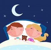 Siblings - boy and girl sleeping and dreaming in bed