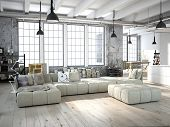 picture of nice house  - 3D rendering of living room in a loft - JPG