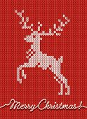Christmas knitted card or background with a deer