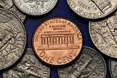 Coins of USA. Lincoln Memorial in Washington D.C. depicted on the US one cent coin.