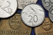 Coins of Slovakia. Krivan Peak in the High Tatras depicted on the Slovak 20 hailers coin.