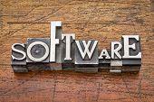 software word in mixed vintage metal type printing blocks over grunge wood