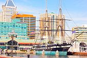 Constellation all- U.S.S sail ship docked at pier of Inner Harbor
